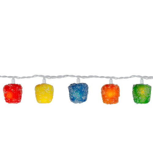 20 Multi Colored Gumdrops Christmas Novelty Lights - 15 ft White Wire - IMAGE 1