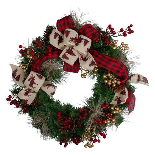 Bows and Berries Artificial Christmas Wreaths - 24-Inch, Unlit - IMAGE 1