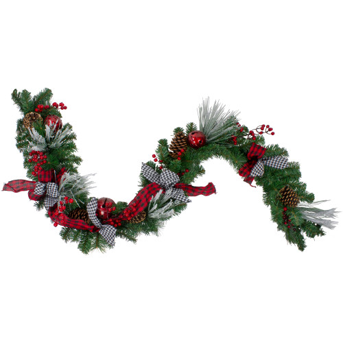 """6' x 12"""" Plaid and Houndstooth and Berries Artificial Christmas Garland - Unlit - IMAGE 1"""