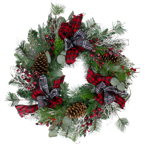 Dual Plaid and Berries Artificial Christmas Wreath - 24-Inch, Unlit - IMAGE 1