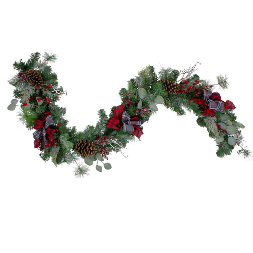 """6' x 12"""" Dual Plaid and Berries Artificial Christmas Garland - Unlit - IMAGE 1"""