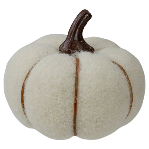 """5"""" Cream and Brown Fall Harvest Tabletop Pumpkin - IMAGE 1"""