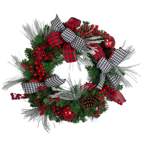 Plaid and Houndstooth and Red Berries Artificial Christmas Wreath - 24-Inch, Unlit - IMAGE 1