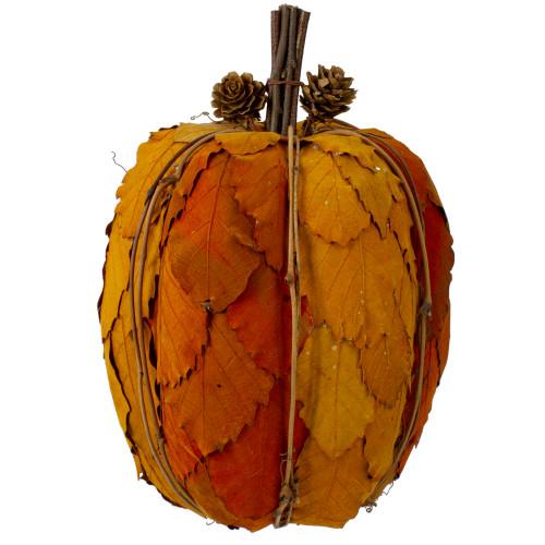 "9.75"" Orange and Brown Fall Harvest Tabletop Pumpkin - IMAGE 1"