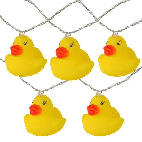 10 Yellow Duck Novelty Christmas Light Set - 6 ft Clear Wire - IMAGE 1