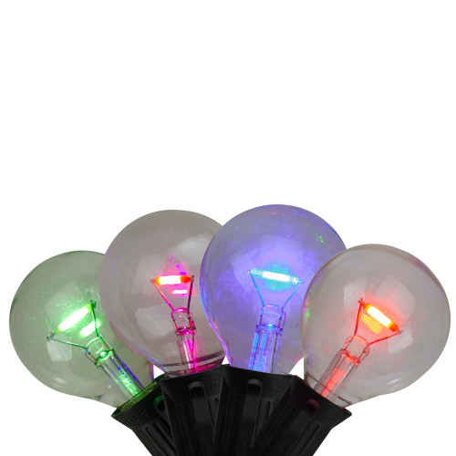 10-Count Multi Colored G40 Globe Christmas Light Set - 7 ft Black Wire - IMAGE 1