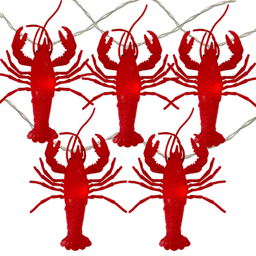 10 Red Lobster Novelty Christmas Light Set - 12 ft Clear Wire - IMAGE 1