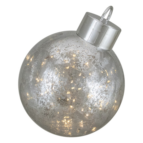 12- Inch Lighted Silver Christmas Ornament Table Piece - IMAGE 1