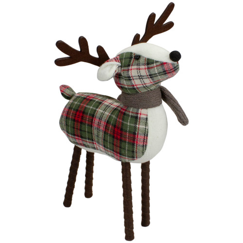 """13.5"""" Red and Green Plaid Reindeer Christmas Decoration - IMAGE 1"""