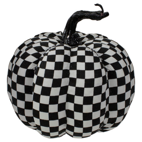 """6.5"""" White and Black Plaid Fall Harvest Tabletop Pumpkin - IMAGE 1"""