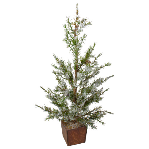 "28"" Potted Frosted Pine Artificial Christmas Tree – Unlit - IMAGE 1"