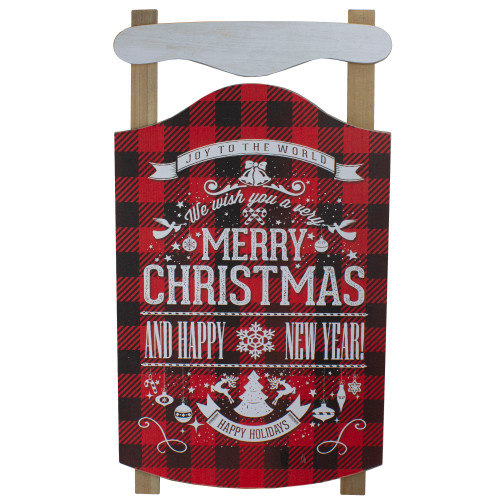 """24"""" Red and Black Buffalo Plaid Merry Christmas Sled Wooden Hanging Wall Sign - IMAGE 1"""