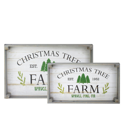 """Set of 2 Gray and White Farm Fresh Christmas Trees Wooden Tray Hanging Signs 21"""" - IMAGE 1"""