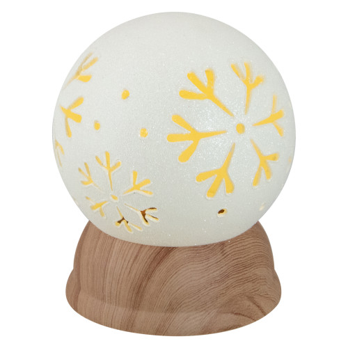 """6.5"""" Lighted White and Brown Globe with Snowflakes - IMAGE 1"""