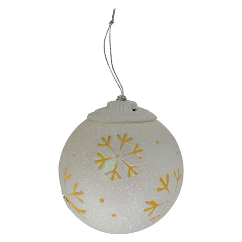 """5"""" LED Lighted White Snowflake Cut-Out Hanging Christmas Ornament - IMAGE 1"""