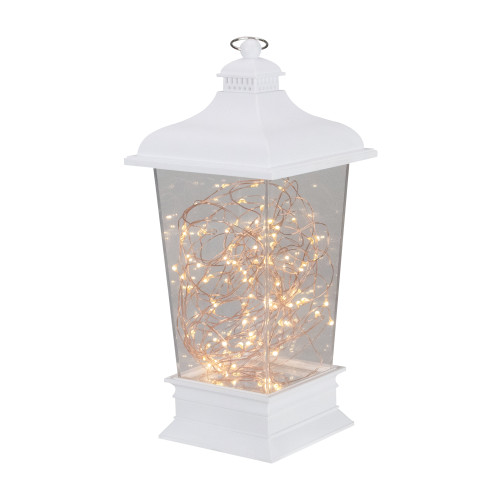 "12"" Battery Operated White Tapered Lantern with Rice Lights Tabletop Decoration - IMAGE 1"