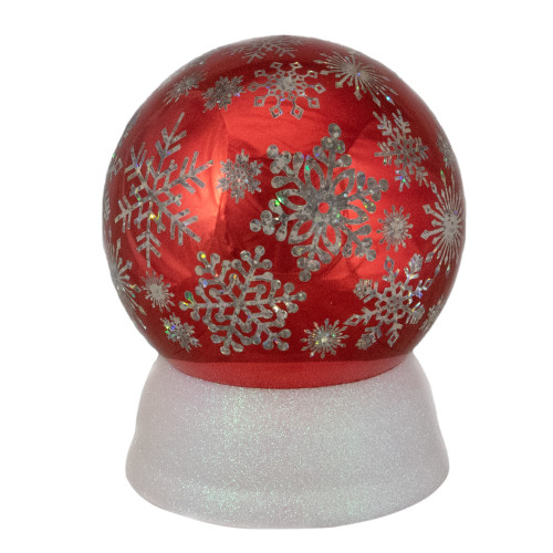 """6.5"""" LED Lighted Shiny Red Snowflake Water Globe Tabletop Decoration - IMAGE 1"""