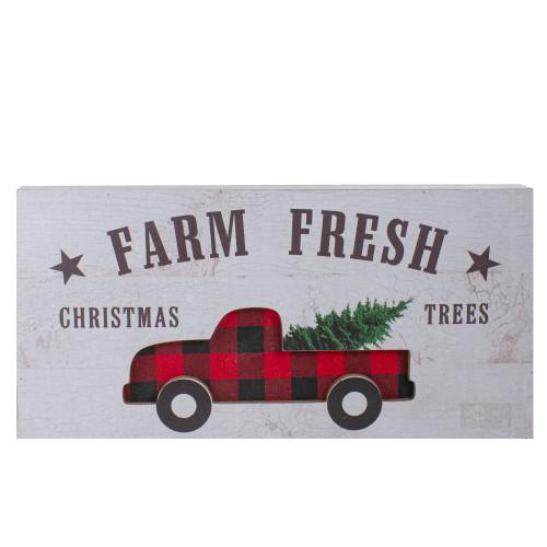 "16"" Farm Fresh Black and Red Buffalo Plaid Farm Truck Wooden Christmas Sign - IMAGE 1"