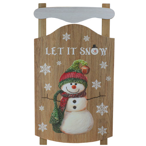 """24"""" Let It Snow Wooden Sled Snowman and Snowflakes Wall Sign - IMAGE 1"""