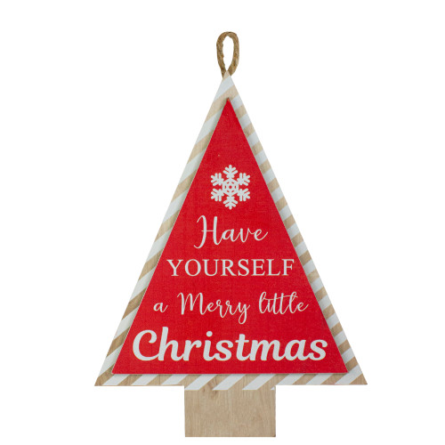 "16"" Red and White Merry Little Christmas Tree Wooden Hanging Wall Sign - IMAGE 1"