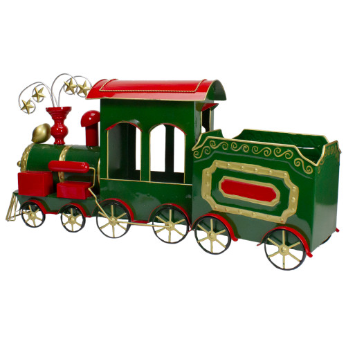 """34"""" Green, Red and Gold Metal Train Figurine Tabletop Christmas Decoration - IMAGE 1"""