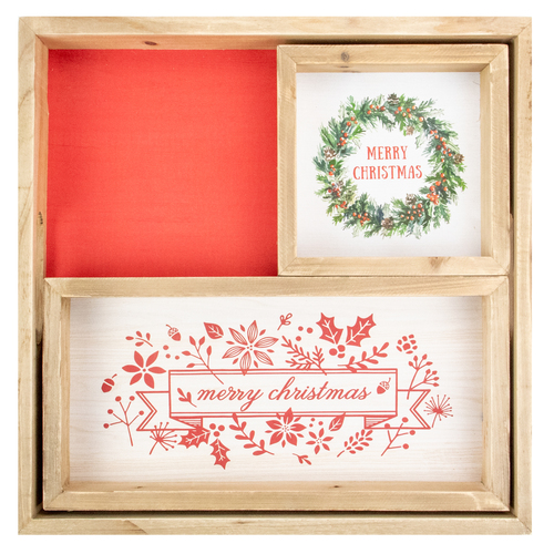 "Set of 3 Merry Christmas Wood Plaques and Serving Tray with Handles 16"" - IMAGE 1"