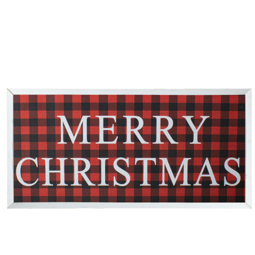 """24"""" Red and Black Buffalo Plaid Merry Christmas Wooden Hanging Wall Sign - IMAGE 1"""