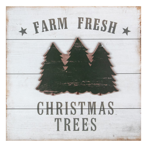 """16"""" White Washed Farm Fresh Christmas Trees Wooden Wall Sign - IMAGE 1"""