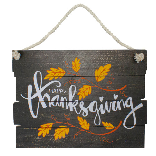 """15"""" Brown and Orange Leaves Happy Thanksgiving Wooden Hanging Wall Sign - IMAGE 1"""