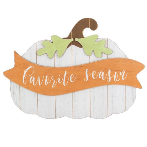 """19"""" White Wooden Pumpkin Favorite Season Hanging Wall Sign - IMAGE 1"""