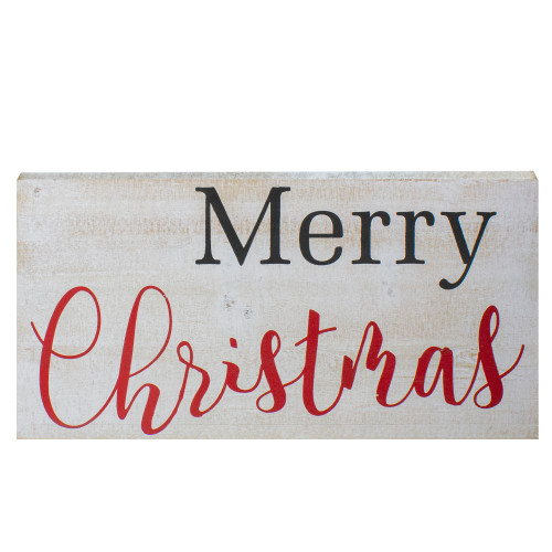 "24"" Distressed White Merry Christmas Wooden Hanging Wall Sign - IMAGE 1"