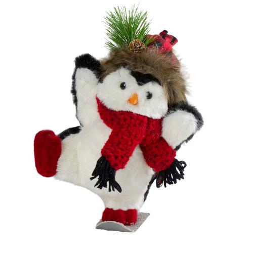 "9"" Plush Snowboarding Penguin Tabletop Christmas Figure - IMAGE 1"