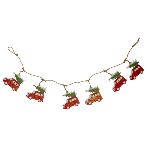 """55"""" Red and Green Vintage Truck and Christmas Tree Christmas Garland - IMAGE 1"""