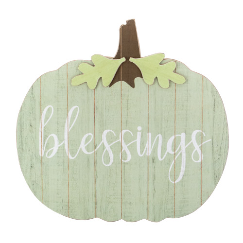 """20"""" Green and Brown Blessings Pumpkin Wooden Thanksgiving Hanging Wall Sign - IMAGE 1"""