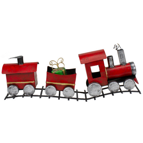 "15"" Three Car Red and Silver Metal Train Christmas Decoration - IMAGE 1"