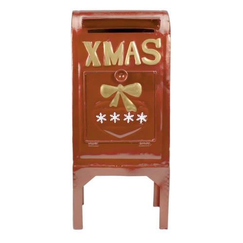 "16"" Orange Metal Mailbox Christmas Tabletop Decoration - IMAGE 1"