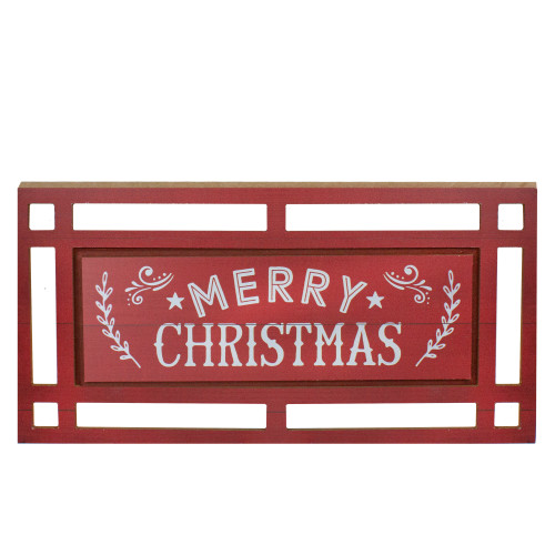 "24"" Red and White Merry Christmas Rectangular Carved Wooden Wall Sign - IMAGE 1"