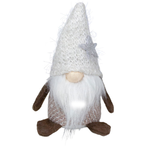 "6"" Ivory and Brown Mini Gnome Tabletop Christmas Decoration - IMAGE 1"