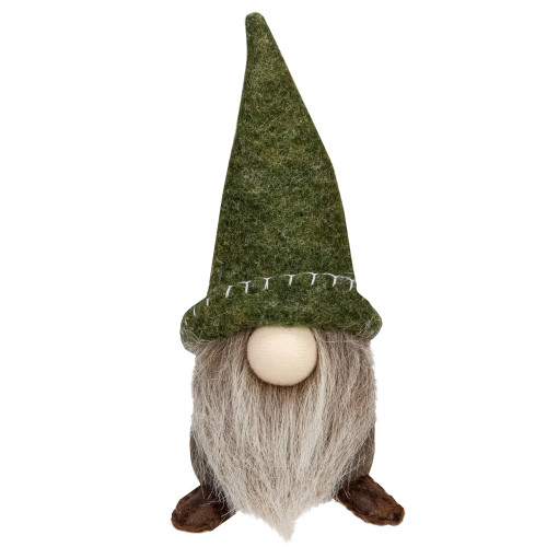 "7.5"" Green and Beige Sitting Gnome Tabletop Christmas Decoration - IMAGE 1"