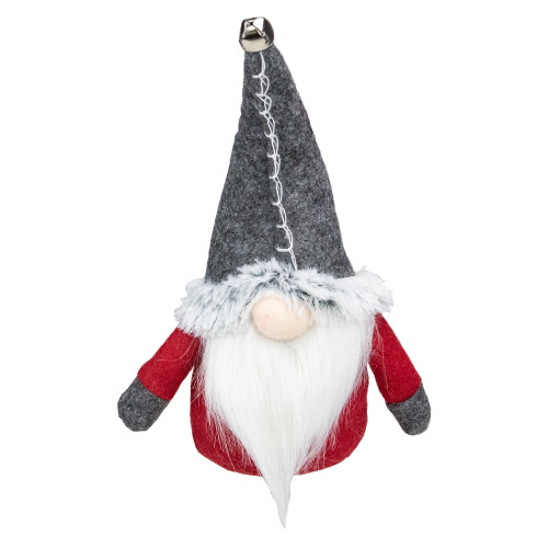 """8.5"""" Red and Gray Sitting Gnome Christmas Decoration with Jingle Bell - IMAGE 1"""