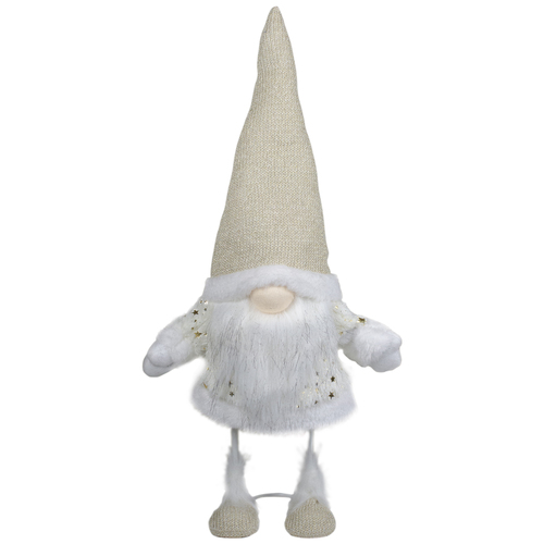 "17"" Ivory and Gold Christmas Gnome Tabletop Decoration - IMAGE 1"