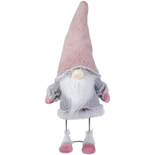 """17"""" Pink and Gray Bouncy Gnome Standing Christmas Decoration - IMAGE 1"""