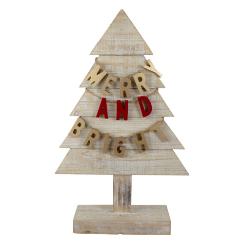 """23"""" Gold and Red Merry and Bright Wooden Christmas Tree Decoration - IMAGE 1"""