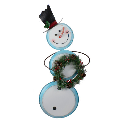 """36"""" White and Blue Metal Snowman with Wreath Christmas Floor Decoration - IMAGE 1"""