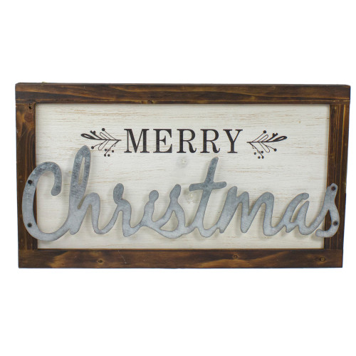 "18"" Merry Christmas Framed Wood and Metal Wall Decoration - IMAGE 1"