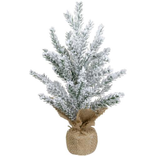 "12"" Unlit Artificial Flocked Mini Pine Christmas Tree with Jute Base - IMAGE 1"