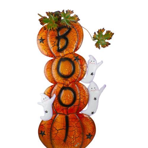 "33"" Orange and Black Stacked Pumpkins Outdoor Halloween Decoration - IMAGE 1"