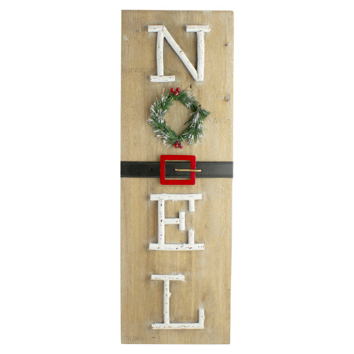 "23.75"" Vertical Beige Wooden Noel Christmas Sign with Santa's Belt - IMAGE 1"
