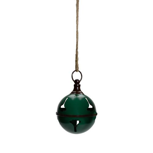 "7"" Green Metal Jingle Bell Hanging Christmas Decoration - IMAGE 1"