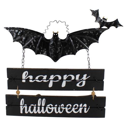 17 Black Bat and Happy Halloween Metal Hanging Sign Wall Decor - IMAGE 1